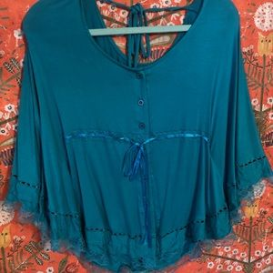 Anthropologie Tops - 💙Anthro Button Down Tie Lace Blouse💐